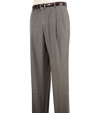 Executive Patterned Wool Pleated Trousers