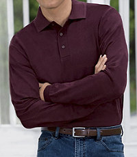 Traveler Long-Sleeve Solid Polos- Big and Tall