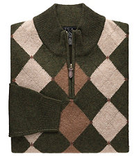 Lambswool Patterned Argyle Half-Zip Sweater