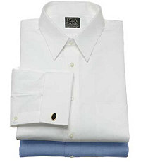 Traveler Pinpoint Solid Tailored Point Collar, French Cuff Dress Shirt