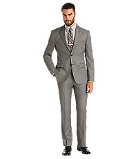 Traveler Tailored Fit 2-Button Suits Plain Front Trousers- Grey Sharkskin