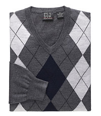Signature Merino Wool Sweater Argyle V-Neck