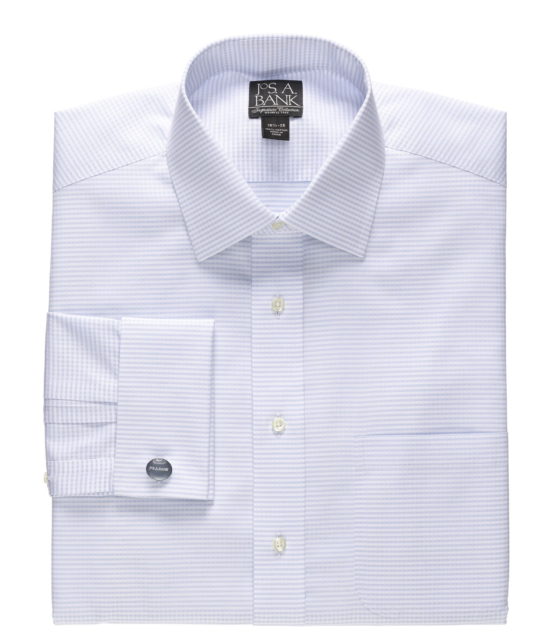 French Cuff Dobby Cross Stripe Dress Shirt