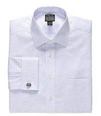 Signature Spread Collar French Cuff Dobby Cross Stripe Dress Shirt