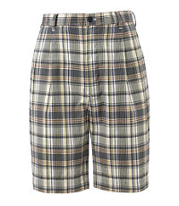Pleated Poplin Plaid Shorts