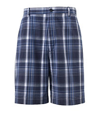Poplin Plain Front Plaid Shorts