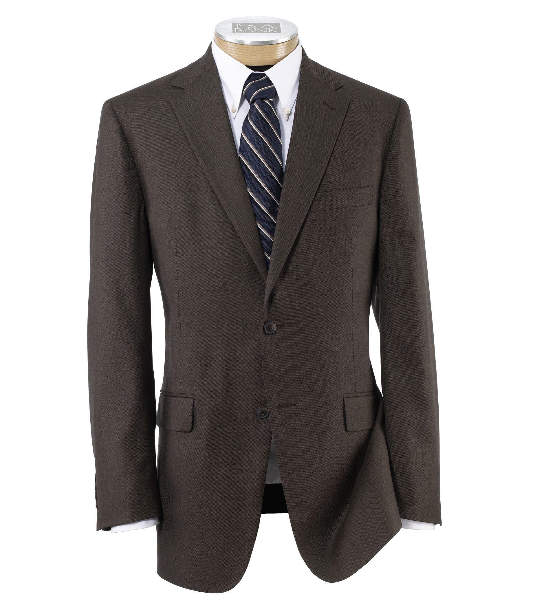 Traveler Tailored Fit 2-Button Suits Plain Front Trousers- Brown Sharkskin