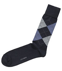 Argyle Mid-Calf Socks-Navy/Light Blue/Light Grey