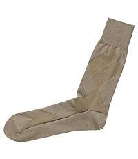 Argyle Mid-Calf Socks-Tan