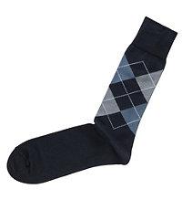 Argyle Mid-Calf Socks-Navy/Light Grey/Blue/White