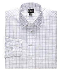 Traveler Tailored Fit Spread Collar Windowpane Dress Shirt
