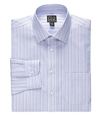 Traveler Spread Collar End-on-End Stripe Dress Shirt Big/Tall