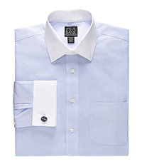 Traveler White White Spread Collar, White French Cuff Pattern Dress Shirt