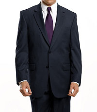 Signature 2-Button Wool Suit With Plain Front Trousers - Sizes 44 X-Long-52- Grey Herringbone, Navy