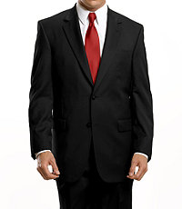 Signature 2-Button Wool Suit With Plain Front Trousers- Black, Grey