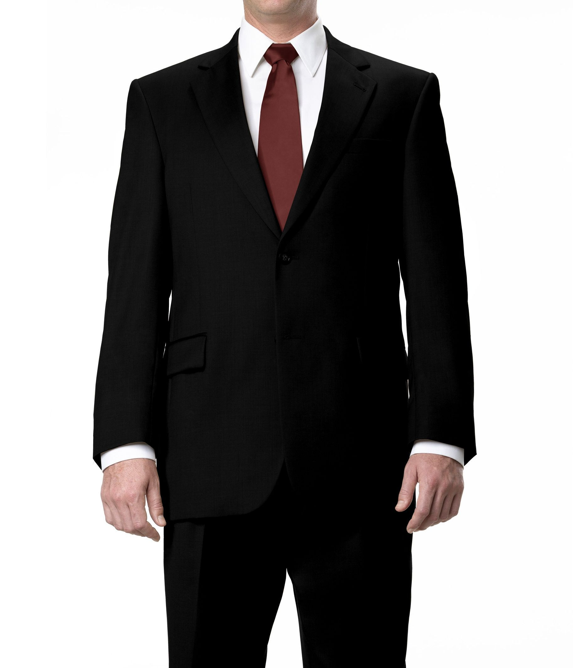 Signature 2-Button Wool Suit with Plain Front Trousers - Black Herringbone
