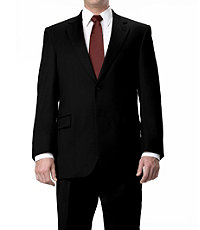 Signature 2-Button Wool Suit with Plain Front Trousers- Sizes 44 X-Long-52- Black Herringbone