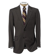 Signature 2-Button Wool Pattern Suit with Pleated Trousers - Medium Brown Herringbone