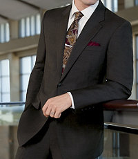 Signature 2-Button Wool Suit with Plain Front Trousers- Dark Navy Fineline