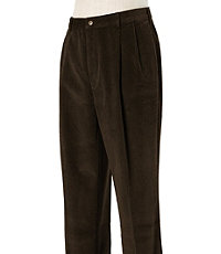 Colorfast Casual Corduroy Pleated Front Pants- Sizes 44-48