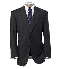 Signature Gold 2-Button Wool Suit- Brown with Blue Deco Stripe