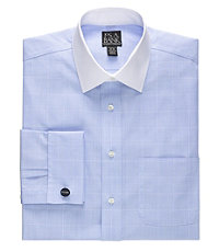 Traveler Tailored Fit White Spread Collar, Self French Cuff Dress Shirt