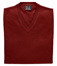 1920s Style Mens Vests Signature Cotton Mens Sweater Vest BigTall - 3 X Tall Red $39.00 AT vintagedancer.com