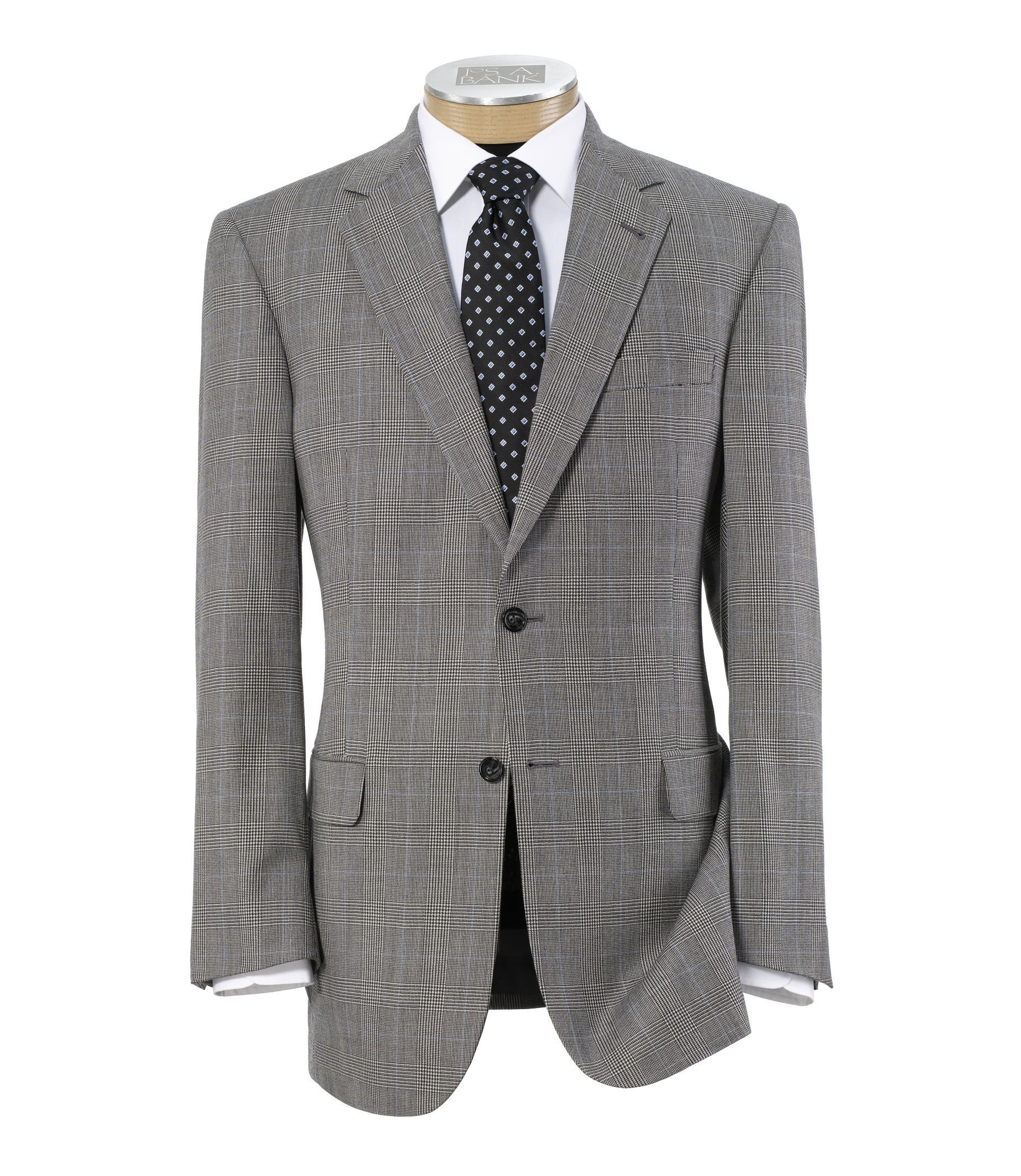 Men's Suit Signature 2-Button Wool Pattern Suit with Pleated Trousers JoS. A. Bank - BLK/WT PLD W/BLUE DE - 44 - SHORT
