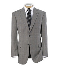 Signature 2-Button Wool Pattern Suit with Pleated Trousers - Sizes 44 X-Long-52- B/W Plaid with