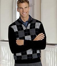 Signature Merino Wool Argyle Half-Zip Sweater