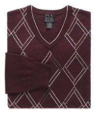 Lambswool V-Neck Geometric Argyle Sweater