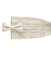 Ivory Floral Tie and Cummerbund Set