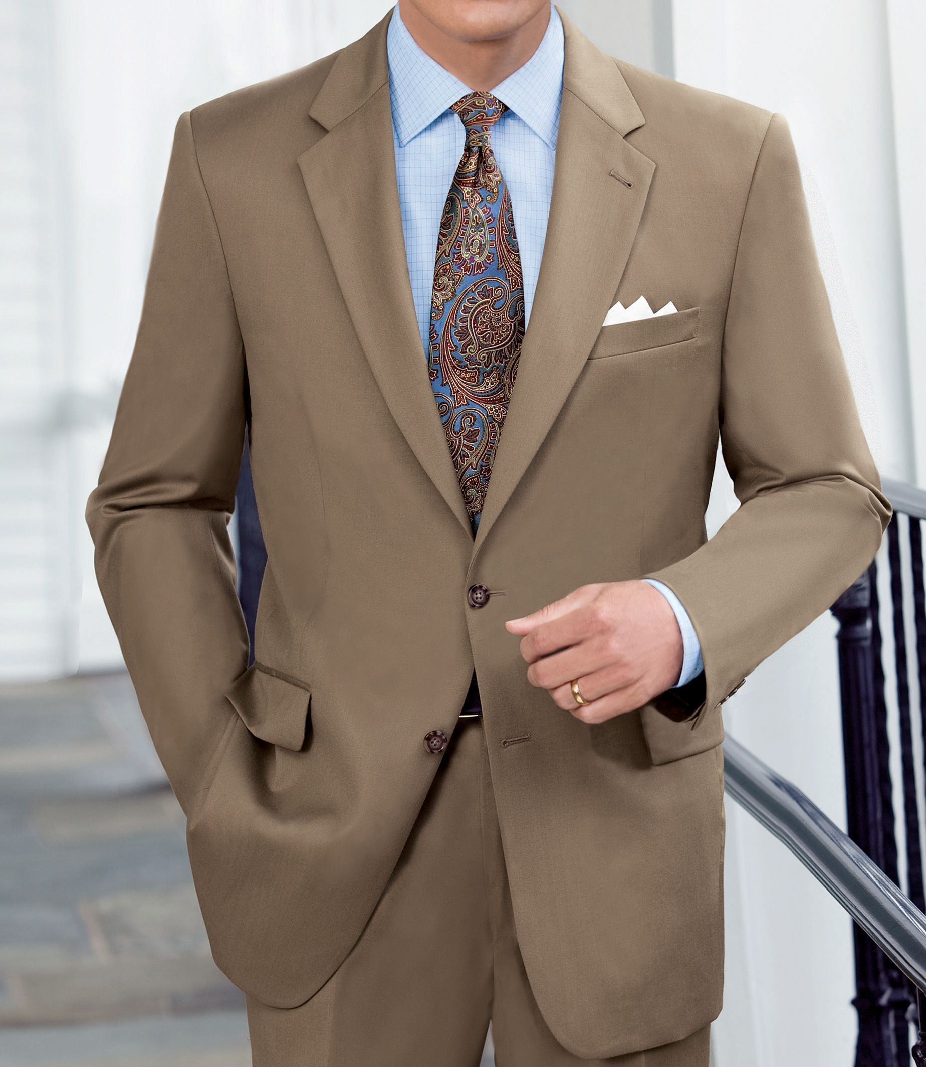 Traveler Suit Separate 2-Button Jacket - BRTSH TAN - 46 - LONG