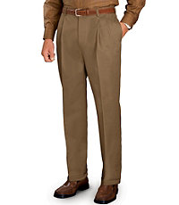 Tailored Fit Traveler Wrinkle Free Pleated Khakis- Sizes 44-48