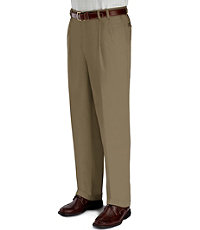 Wrinkle-Resistant Cotton Twill Pleated Front Pants- Sizes 44-48