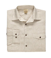 VIP Long Sleeve Point Collar Linen Sportshirt - Big or Tall