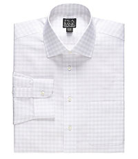 Traveler Tailored Fit Spread Collar White Ground Plaid Dress Shirt