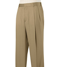 Stays Cool Wrinkle-Free Pleated Cotton Pants- Sizes 44-48