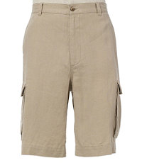VIP Washed Linen Cargo Plain Front Shorts