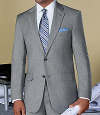 NEW! Signature Tropical Weave 2-Button Suit With Pleated Trousers- Cambridge Grey