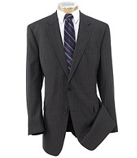 Executive 2-Button Wool Suit with Pleated Front Trousers - Grey/Olive Stripe
