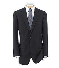 Signature Gold 2-Button Wool Suit- Black Herringbone Stripe