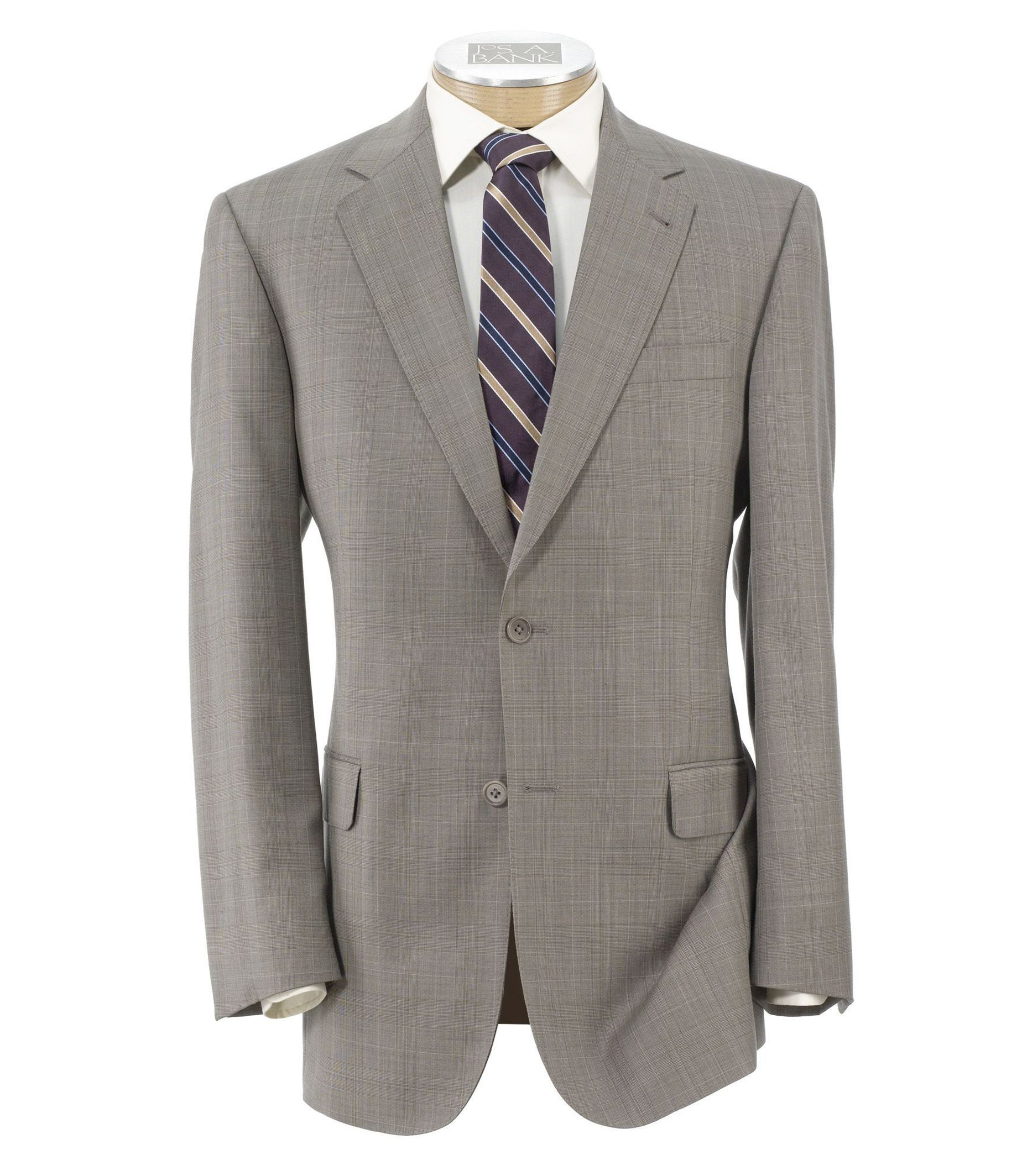 Signature Gold 2-Button Wool Suit- Tan Plaid