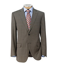 Signature Gold 2-Button Wool Suit- Olive Plaid Windowpane