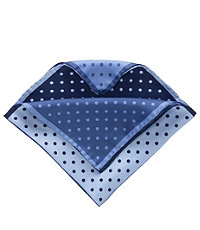 Four Color Dot Solid Pocket Square- Navy