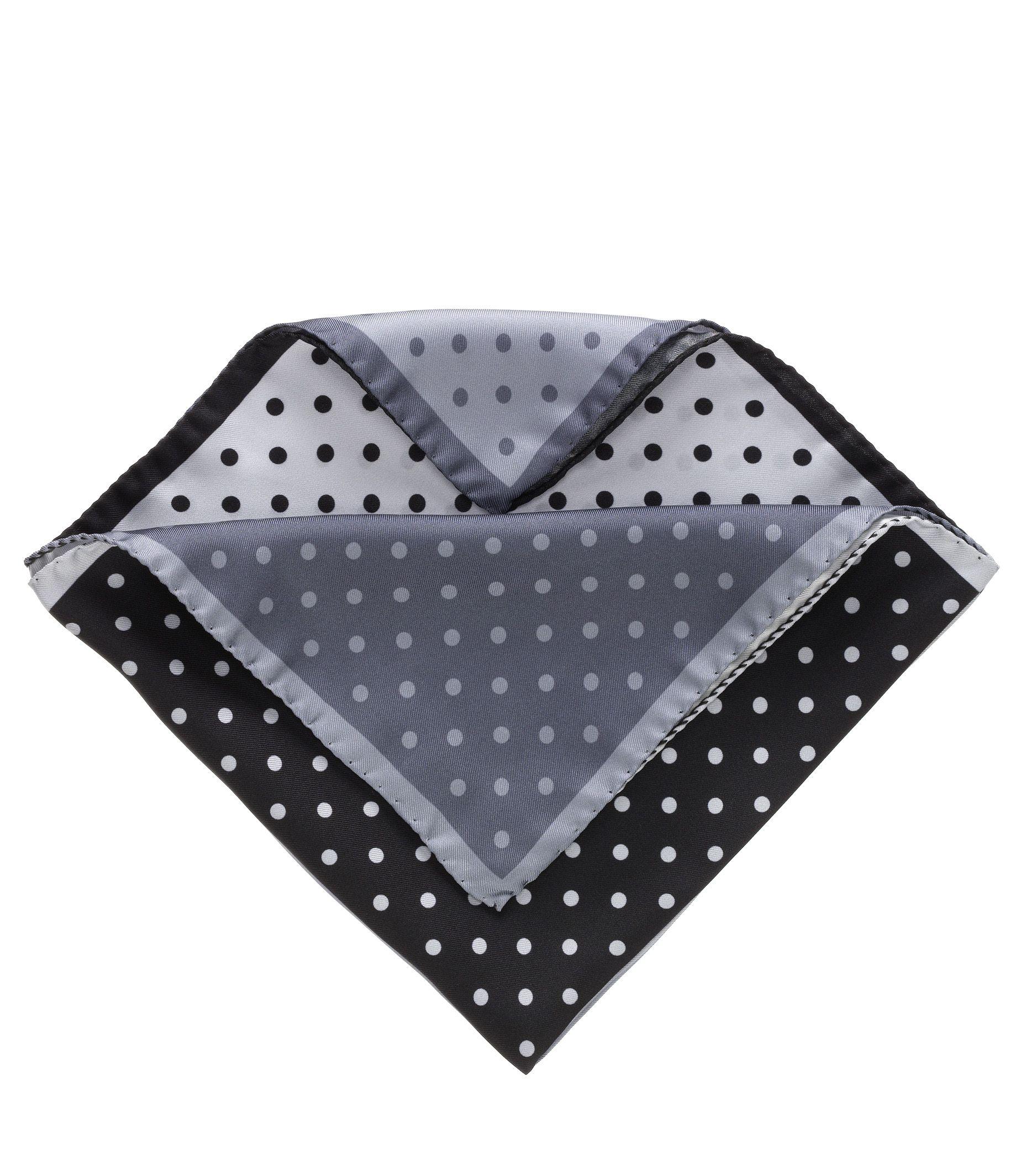 Four Color Dot Solid Pocket Square- Black