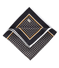 Tear Drop Paisley Pocket Square- Black/Rust
