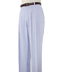 Stays Cool Cotton Blue Plain Front Seersucker Pants- Sizes 44-48