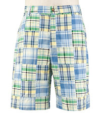 VIP Take It Easy Patchwork Madras Shorts Extended Sizes