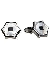 Onyx Mother of Pearl Hex Cufflinks